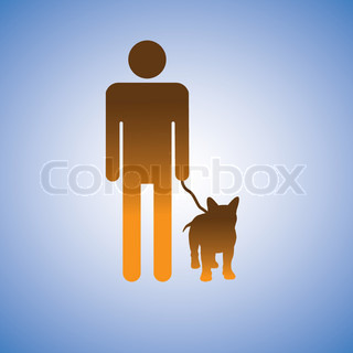 Illustration of man and his best friend - dog This graphic contains symbol of adult male holding the leash of his puppy