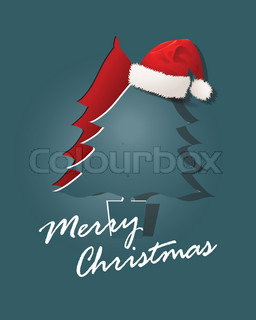 Christmas card paper design with Christmas tree, Santa Claus caps