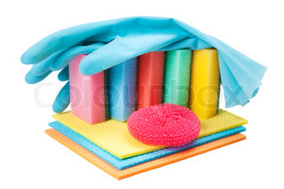 dish washing sponge, dishcloth, rubber gloves and scrub pad, isolated