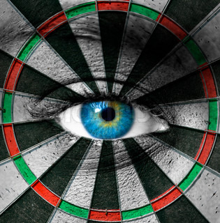 Blue eye and dartboard