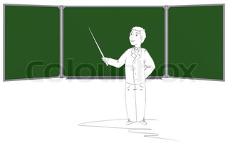 Drawn in pencil man shows pointer on the green board