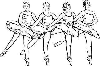 the four girls ballerinas dance on pointe