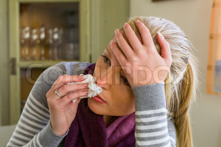woman with tea and drugs