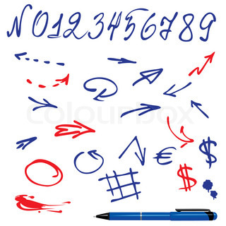 Numbers and symbols arrows set - hand drawn picture