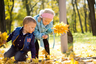 Beautiful Children Collecting Autumn Leaves