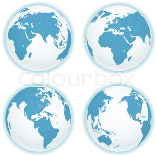 Earth map scheme isolated on white Vector collection