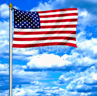 United States of America waving flag against blue sky