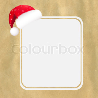 Red Santa Hat With Blank Gift Tag And Old Paper