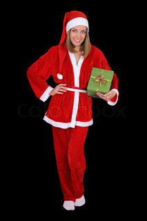 Beautiful girl in santa clause costume with gift