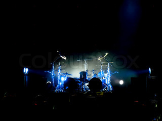 Drum set on the stage