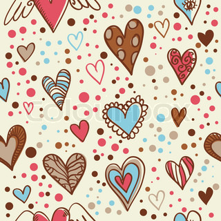 Cute doodle hearts seamless wallpaper
