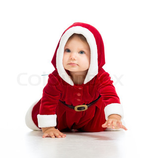 crawling Santa Claus baby girl