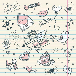 Doodle Valentine's day scrapbook page with love sketch