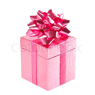 pink gift box with bow on white