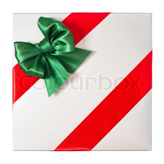 red ribbon with green bow on grey gift box