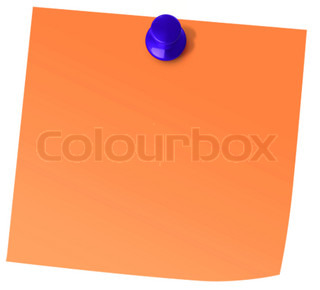 Blank Orange Post-It Note isolated on white background ...