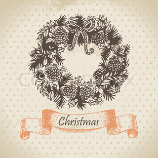 Christmas wreath Hand drawn illustration
