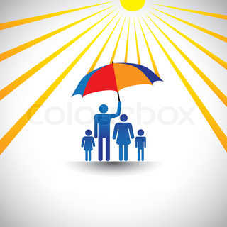 Father protecting family from hot sun with umbrella The graphic represents father holding a colorful umbrellawhich covers his family which includes his wife & childrenconcept of caring, love, etc