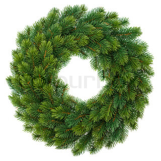 green christmas wreath isolated on white