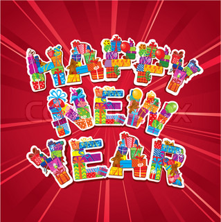 Abstract Happy New Year red background