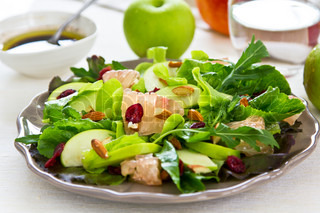 Fresh Apple with Grapefruit ,cranberry and almond salad by Balsamic dressing