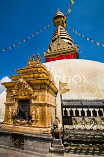 Buddhist Shrine Swayambhunath Stupa Monkey Temple Nepal, Kathmandu
