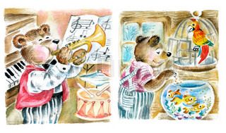 Funny cute teddy playing the trumpet and feeding aquarium fishes