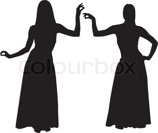 Silhouettes of women dancing belly