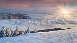 Beautiful winter landscape in themountains Sunrise