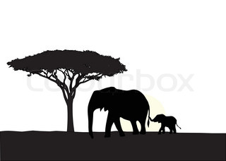 african sunset silhouette black and white kneeling