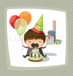 A birthday card with a boy holding balloons and trying to blow out the candle
