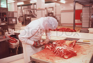 Woman working at food industry of meat