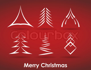 Collection of christmas trees in vector