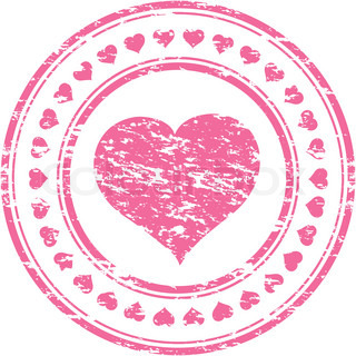 Vector illustrator of a grunge pink rubber stamp with heartisolated on white background