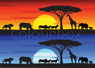 african sunset silhouette artwork