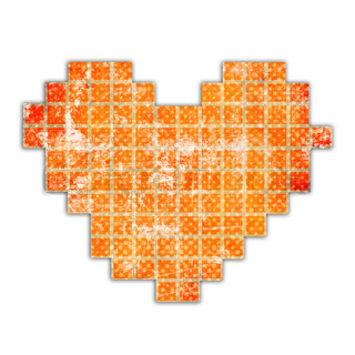 abstract heart made from squares on white