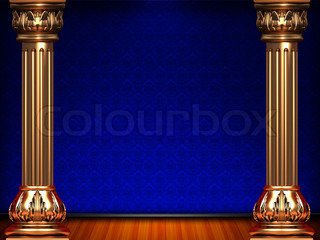 Theatre blue curtain stage
