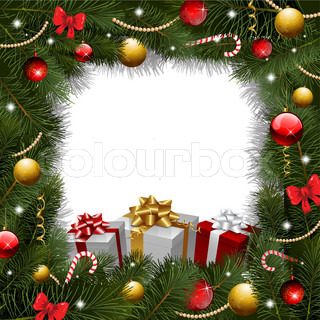 christmas wreath background with gifts