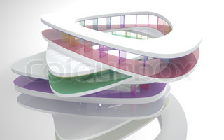 Abstract Architecture. Conceptual modern building with colorful glass column