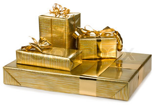 golden gift boxes with gold ribbon