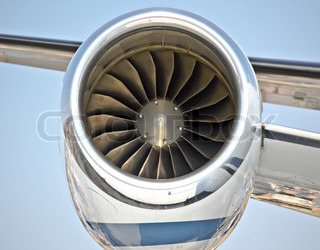close up of turbojet of aircraft travel time