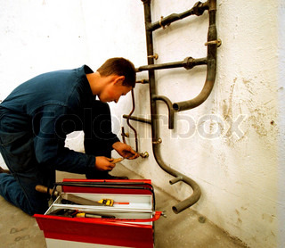 Close-up view of a pipe fitter