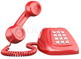 3D red old fashioned style telephone