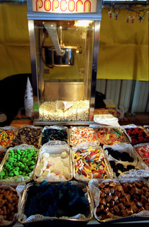 View of sweets and pop corn at a stall
