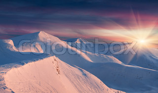 Winter landscape in the mountains Sunrise