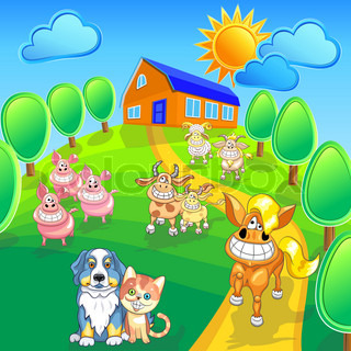 Vector cartoon happy farm animals and pets smile on the summer field front of house EPS 10 Contains transparency, blend, gradients