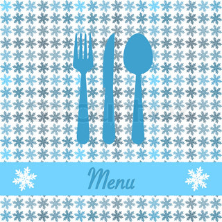 christmas card for restaurant menu, with spoon, knife and fork