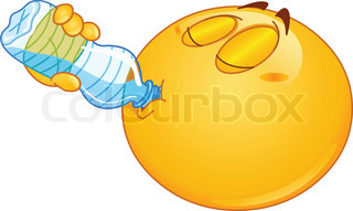 Emoticon drinking water from a bottle