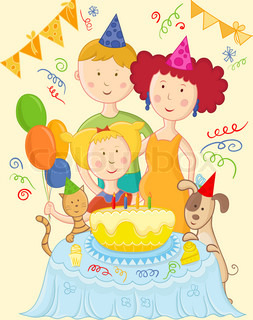 Happy family celebrate birthday card