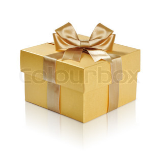 Golden gift box with golden ribbon over white background Clipping path included